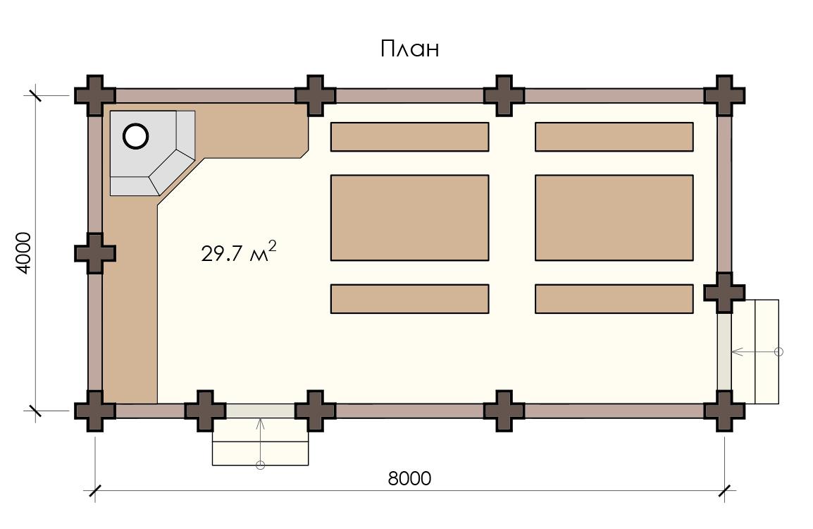 Купить деревянную беседку 8х4 Минск