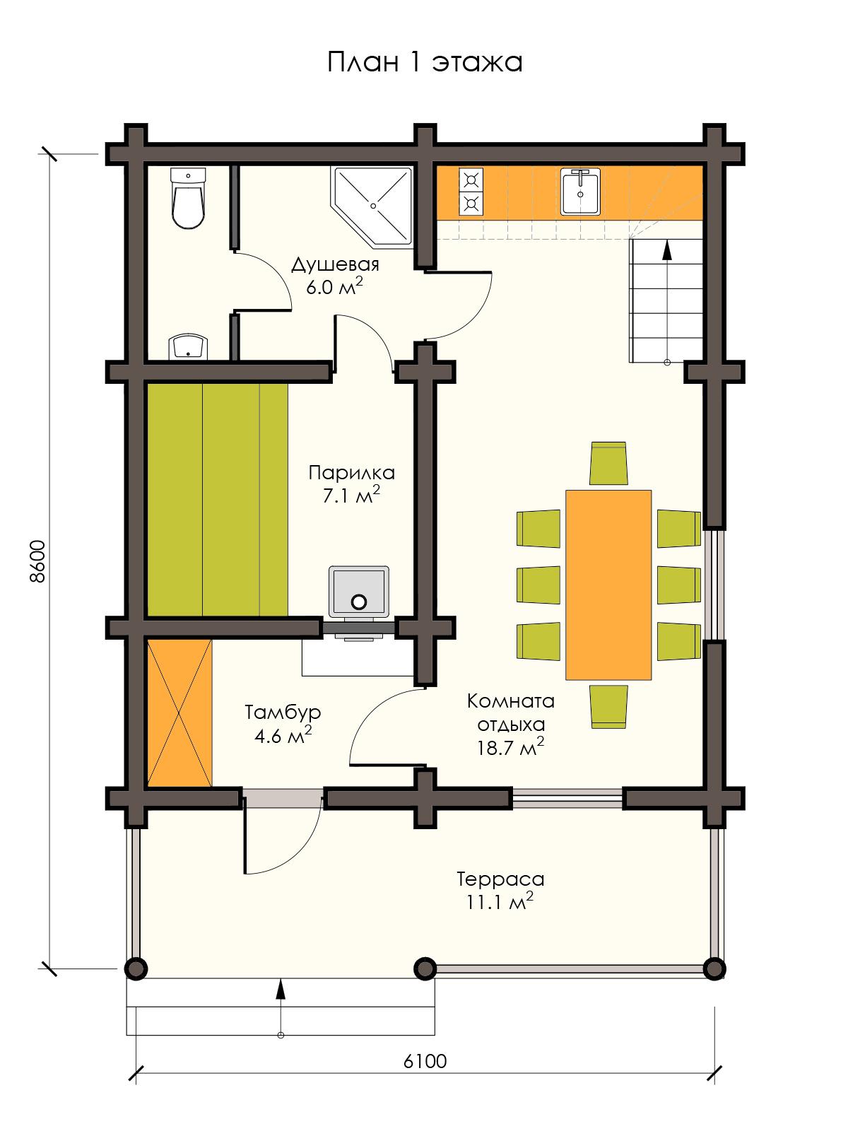 Купить баню 2 этажа