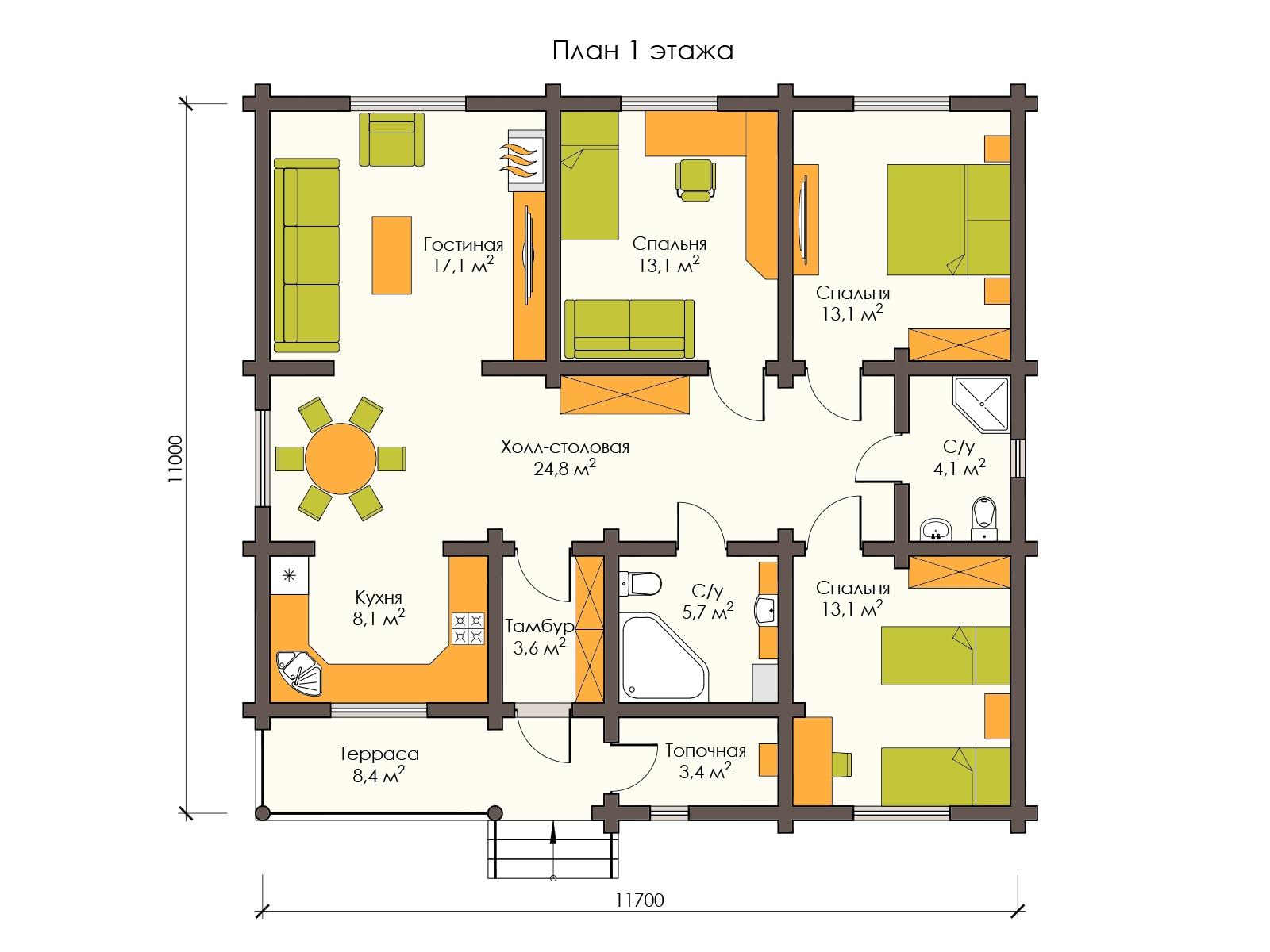 Купить одноэтажный дом из оцилиндрованного бревна