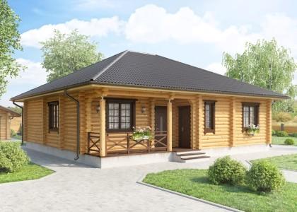 Проект одноэтажного дома из оцилиндрованного