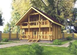 Проект дома из оцилиндрованного бревна 120 м