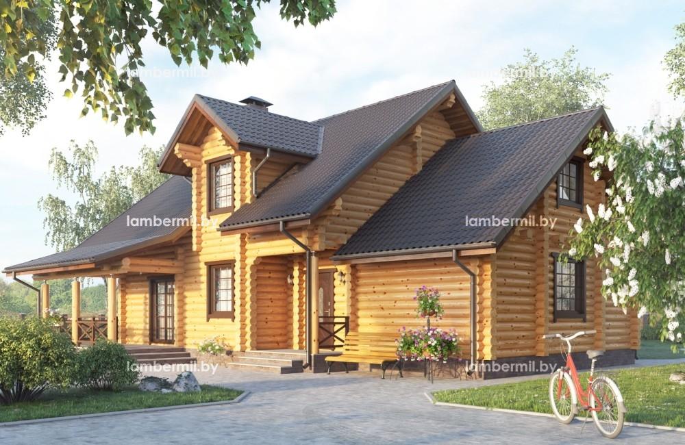 Проект дома из оцилиндрованного бревна 225