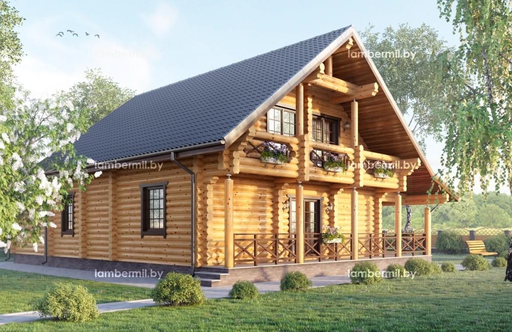 Проект дома из оцилиндрованного бревна 200 м
