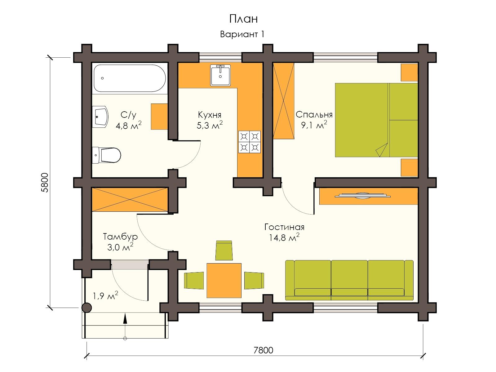 Проект деревянного дома 6 х 8