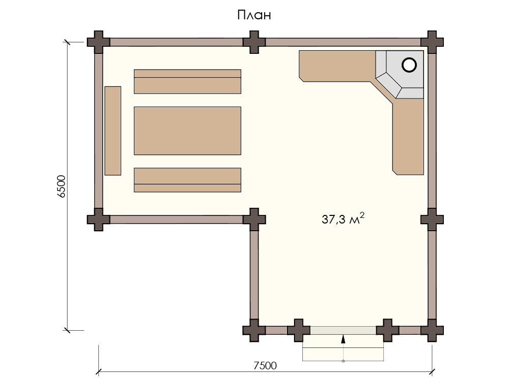 Проект деревянной беседки 7х6