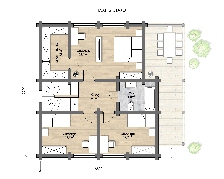 Дом 2 этажа из бревна